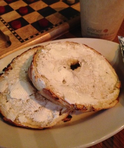 Herbed  Asiago Cheese Bagel, toasted with cream cheese at Bud's of Interlochen