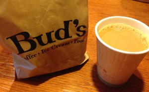 Bud's of Interlochen breakfast to go-bagels and coffee