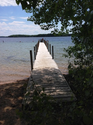 Looking down the dock on Long Lake Traverse City