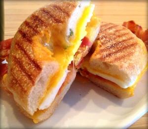 Bagel breakfast sandwich Red Door Coffee House Lake Ann Michigan