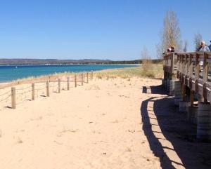 A veiw from the boardwalk of Sleeping Bear Bay, at Glen Haven, Michigan, Sleeping Bear Dunes National Lakeshore.