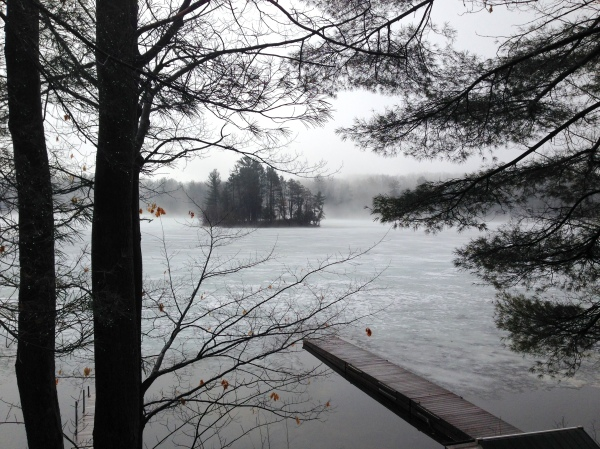 View from Cottage on Spider Lake in early spring