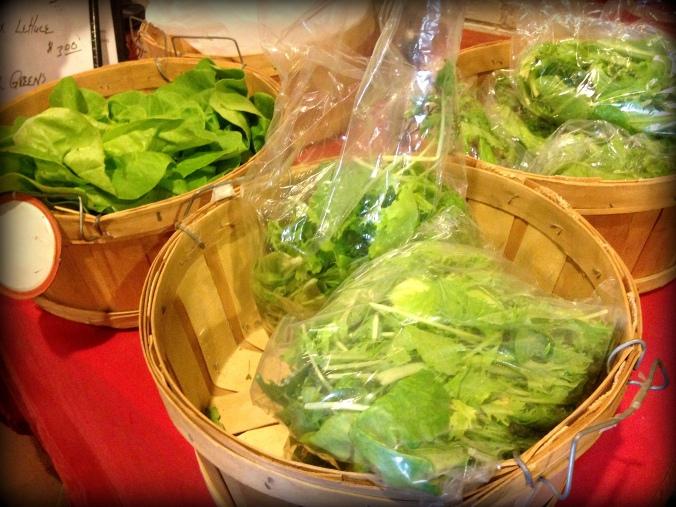 lettuce in baskets