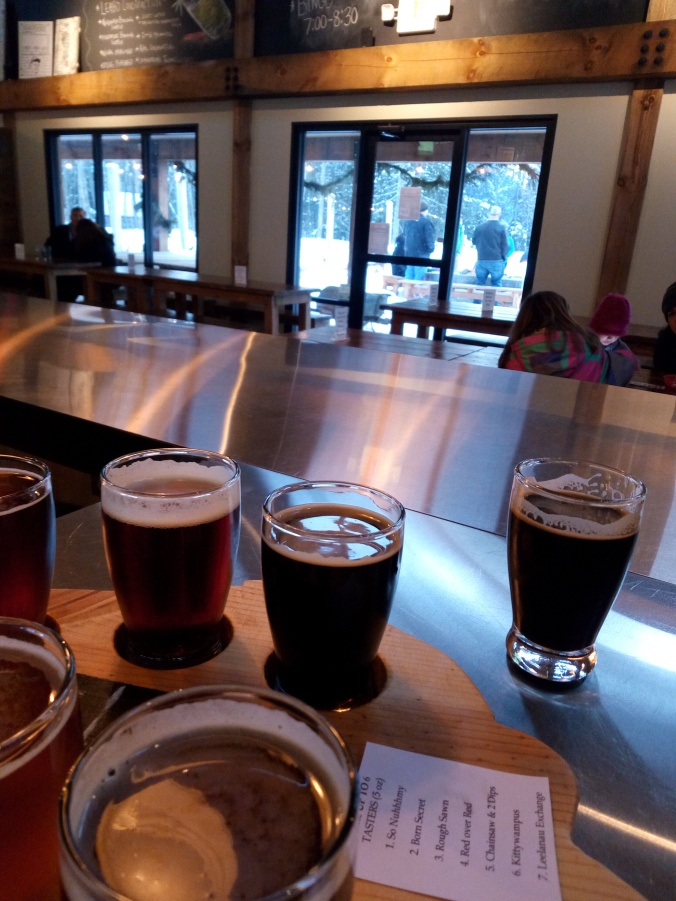 Flight of beers at Hop Lot Brewing Company in Sutton's Bay Michigan