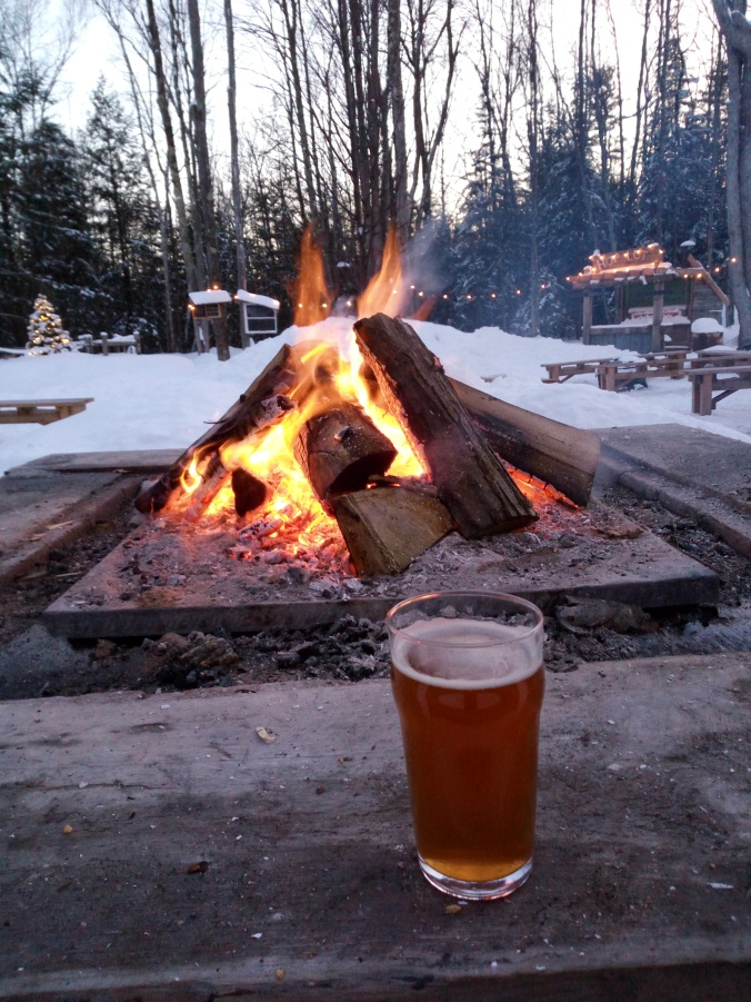 Fun by the fire outside at Hop Lot Brewing Company in the winter